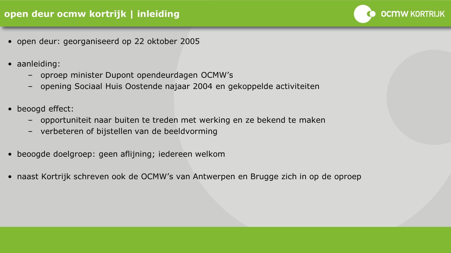 open deur ocmw kortrijk | inleiding open deur: georganiseerd op 22 oktober 2005 aanleiding: –oproep minister Dupont opendeurdagen OCMW's –opening Soci