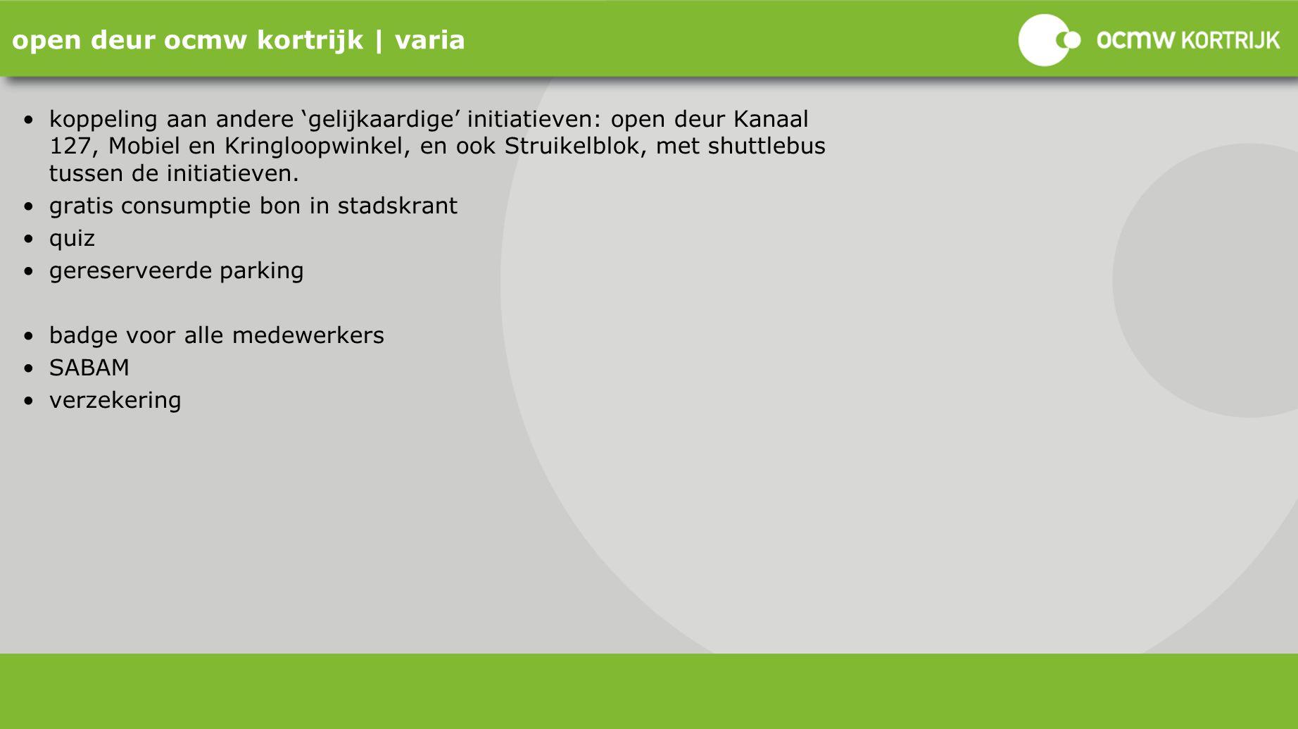 open deur ocmw kortrijk | varia koppeling aan andere 'gelijkaardige' initiatieven: open deur Kanaal 127, Mobiel en Kringloopwinkel, en ook Struikelblo