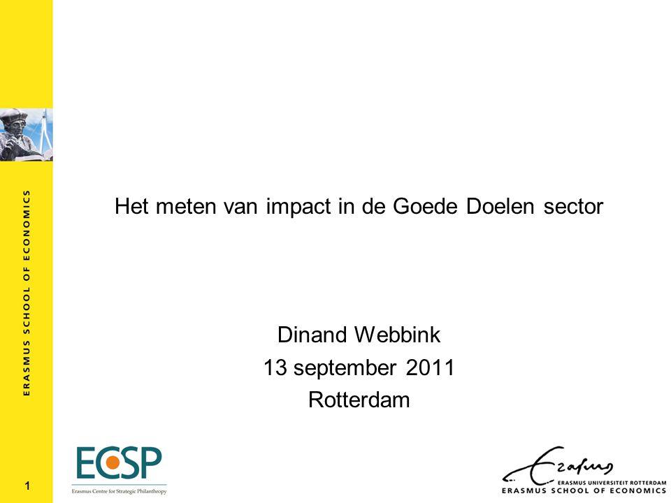 Het meten van impact in de Goede Doelen sector Dinand Webbink 13 september 2011 Rotterdam 1