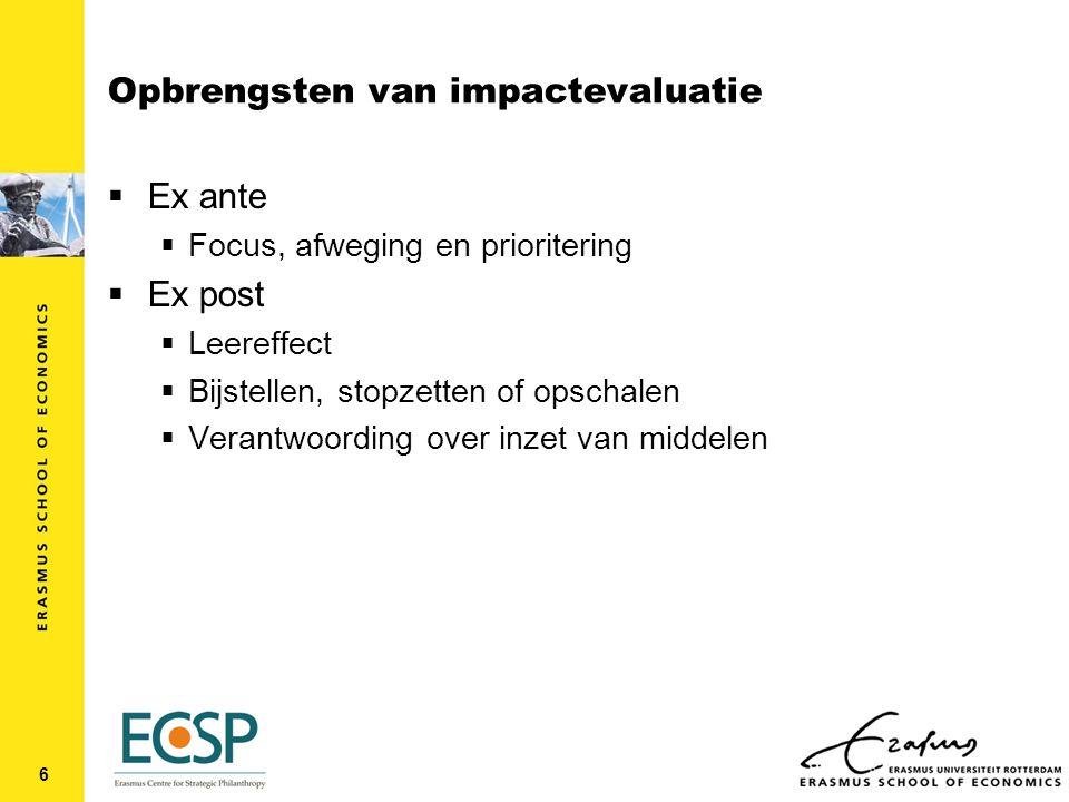 Wat is impact: impact voor GDO  Vertrekpunt private nutsfunctie van GDO  Doelstellingen/uitkomsten Y van GDO genereren nut voor organisatie (zowel bedoelde als onbedoelde uitkomsten)  GDO onderneemt activiteiten X om doelstellingen te realiseren 7
