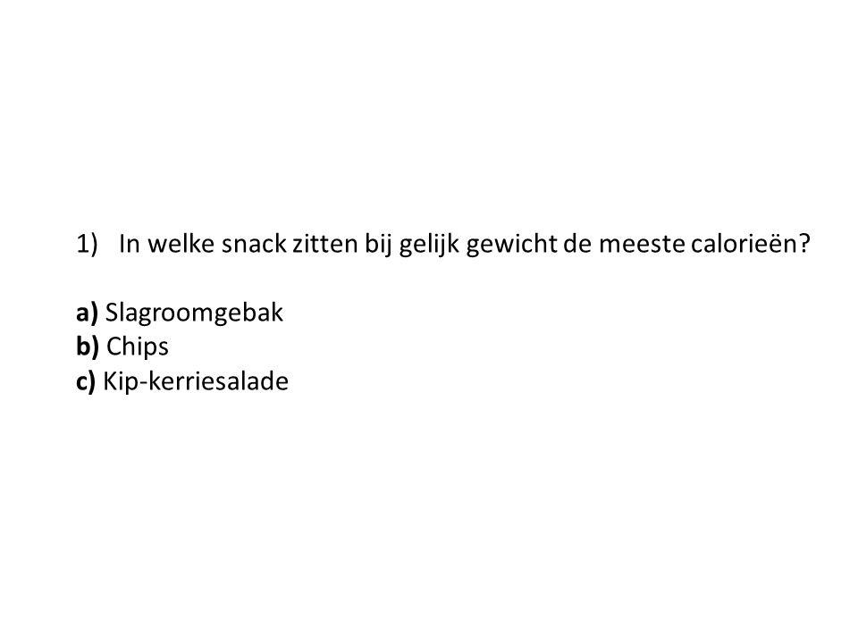 1)In welke snack zitten bij gelijk gewicht de meeste calorieën? a) Slagroomgebak b) Chips c) Kip-kerriesalade