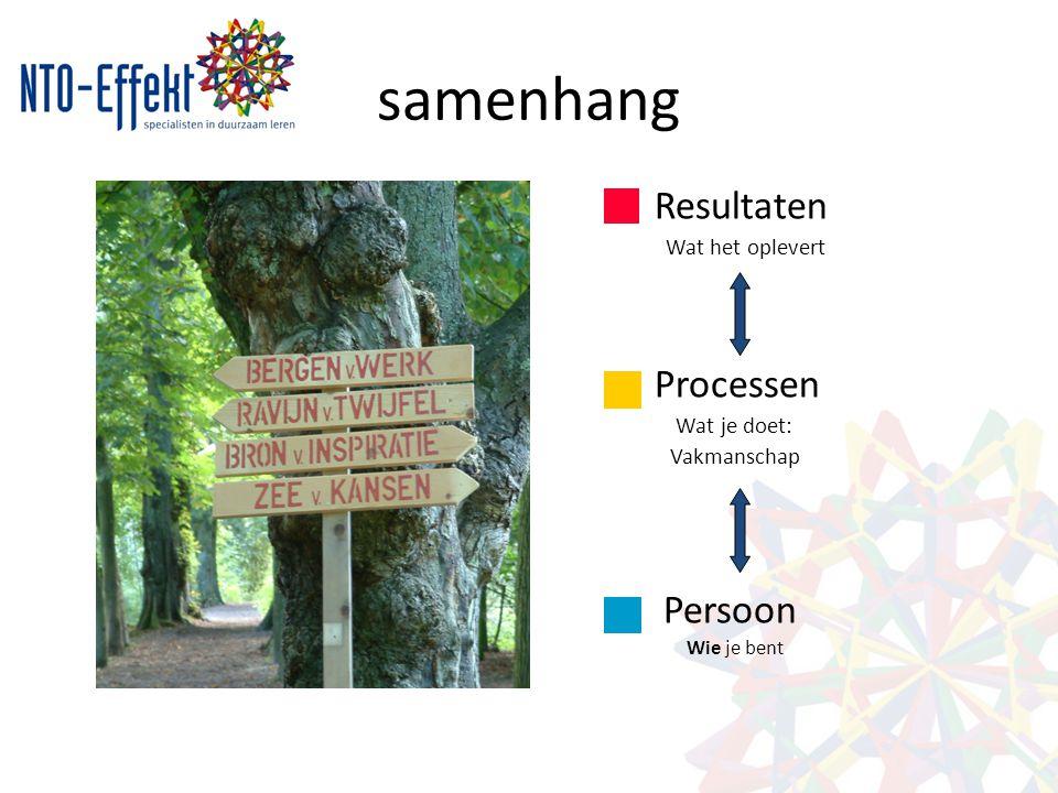samenhang Resultaten Wat het oplevert Processen Wat je doet: Vakmanschap Persoon Wie je bent