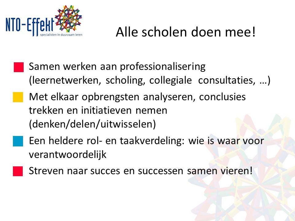 Alle scholen doen mee! Samen werken aan professionalisering (leernetwerken, scholing, collegiale consultaties, …) Met elkaar opbrengsten analyseren, c