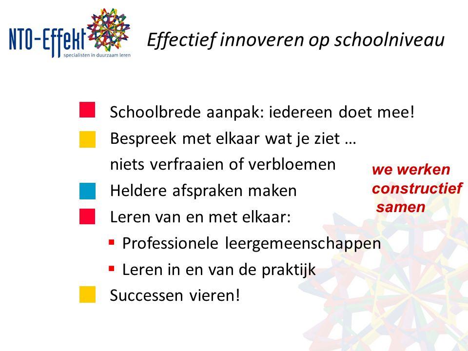 Effectief innoveren op schoolniveau Schoolbrede aanpak: iedereen doet mee! Bespreek met elkaar wat je ziet … niets verfraaien of verbloemen Heldere af
