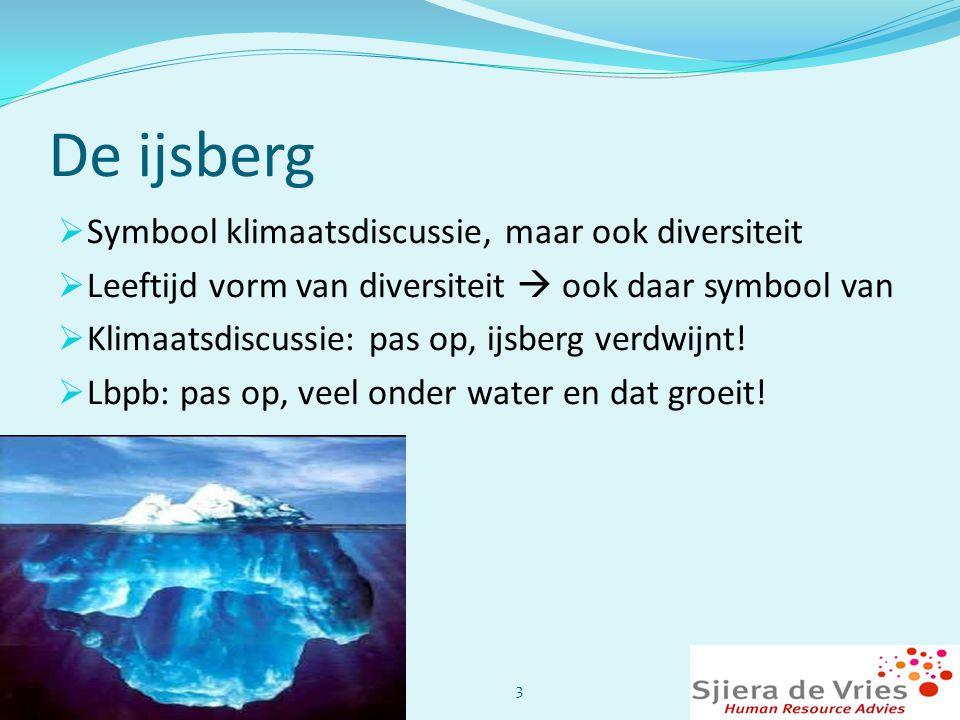 De ijsberg  Symbool klimaatsdiscussie, maar ook diversiteit  Leeftijd vorm van diversiteit  ook daar symbool van  Klimaatsdiscussie: pas op, ijsbe