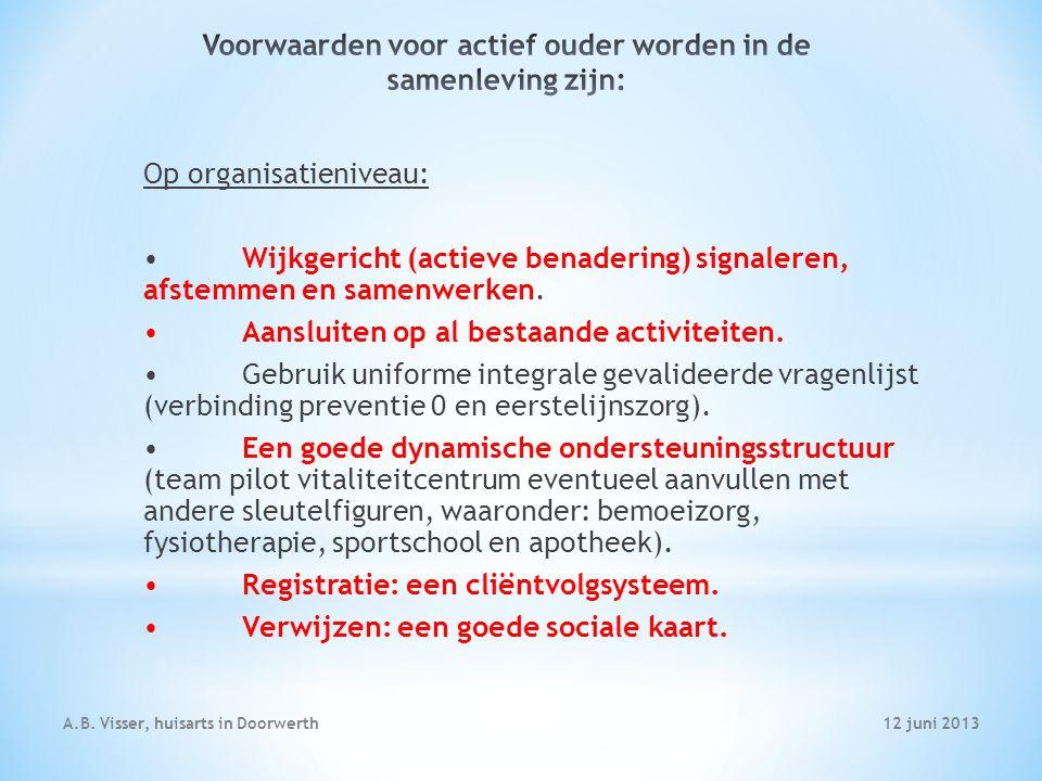 12 juni 2013A.B. Visser, huisarts in Doorwerth Op organisatieniveau: Wijkgericht (actieve benadering) signaleren, afstemmen en samenwerken. Aansluiten