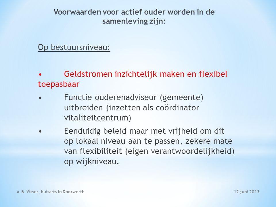 12 juni 2013A.B. Visser, huisarts in Doorwerth Op bestuursniveau: Geldstromen inzichtelijk maken en flexibel toepasbaar Functie ouderenadviseur (gemee