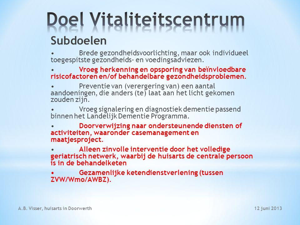 12 juni 2013A.B. Visser, huisarts in Doorwerth Subdoelen Brede gezondheidsvoorlichting, maar ook individueel toegespitste gezondheids- en voedingsadvi