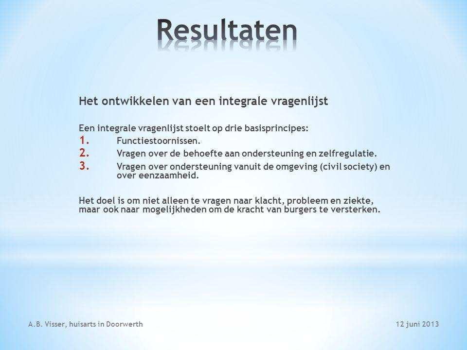 12 juni 2013A.B. Visser, huisarts in Doorwerth Het ontwikkelen van een integrale vragenlijst Een integrale vragenlijst stoelt op drie basisprincipes: