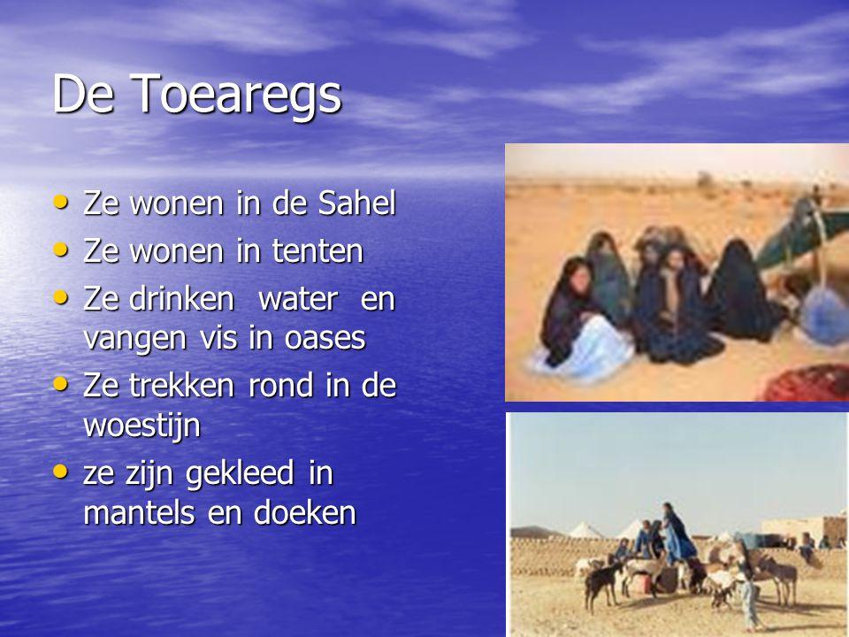 De Toearegs Ze wonen in de Sahel Ze wonen in de Sahel Ze wonen in tenten Ze wonen in tenten Ze drinken water en vangen vis in oases Ze drinken water en vangen vis in oases Ze trekken rond in de woestijn Ze trekken rond in de woestijn ze zijn gekleed in mantels en doeken ze zijn gekleed in mantels en doeken