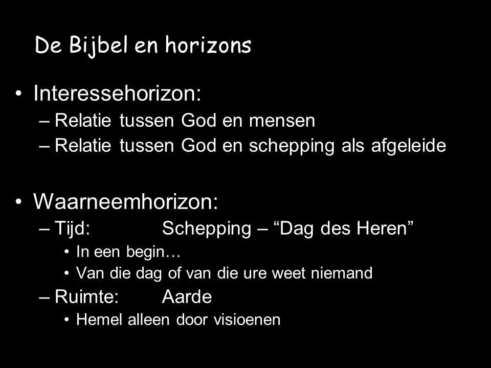 JvW et al. - CMV 2008/06/12 De Bijbel en horizons Interessehorizon: –Relatie tussen God en mensen –Relatie tussen God en schepping als afgeleide Waarn