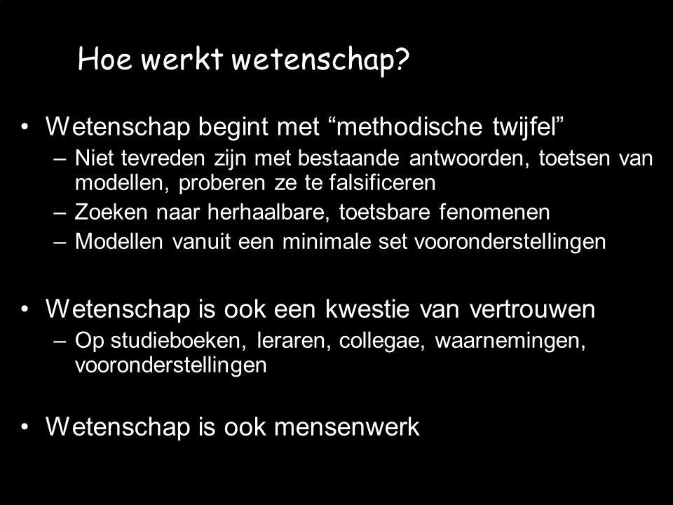 """JvW et al. - CMV 2008/06/12 Hoe werkt wetenschap? Wetenschap begint met """"methodische twijfel"""" –Niet tevreden zijn met bestaande antwoorden, toetsen va"""