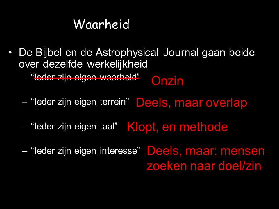 """JvW et al. - CMV 2008/06/12 Waarheid De Bijbel en de Astrophysical Journal gaan beide over dezelfde werkelijkheid –""""Ieder zijn eigen waarheid"""" –""""Ieder"""