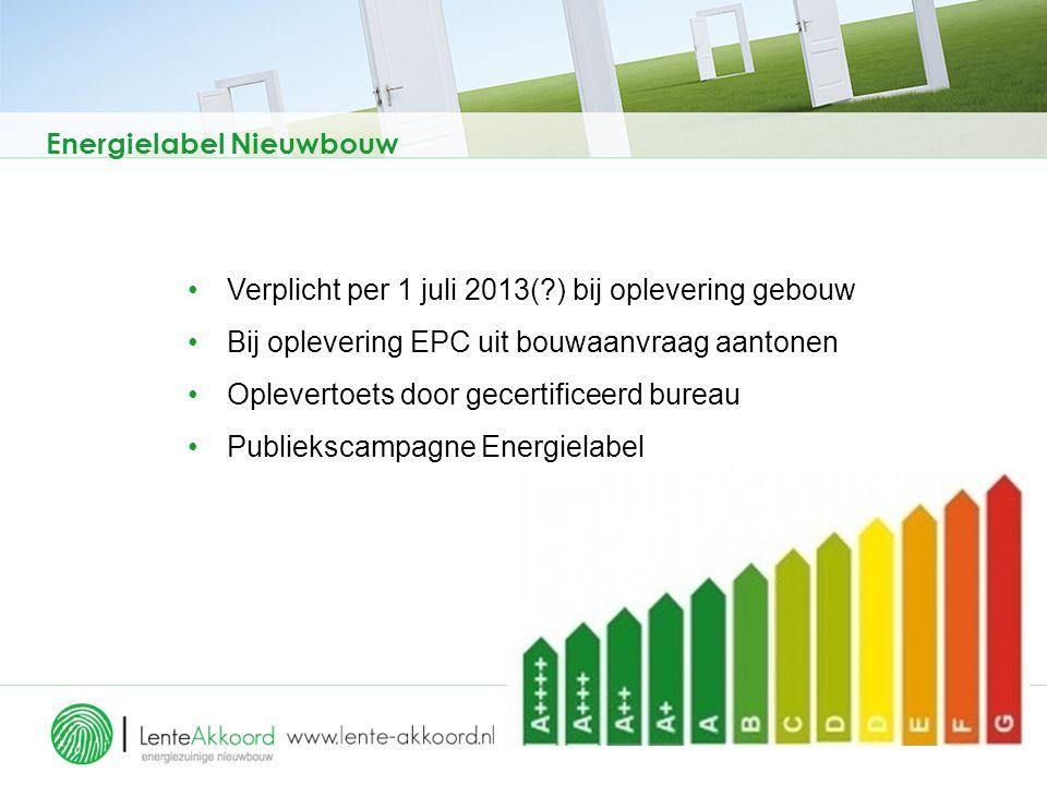 Energielabel Nieuwbouw Verplicht per 1 juli 2013(?) bij oplevering gebouw Bij oplevering EPC uit bouwaanvraag aantonen Oplevertoets door gecertificeer