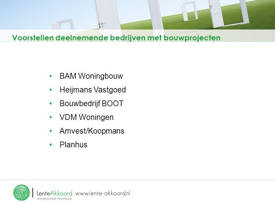 Voorstellen deelnemende bedrijven met bouwprojecten BAM Woningbouw Heijmans Vastgoed Bouwbedrijf BOOT VDM Woningen Amvest/Koopmans Planhus