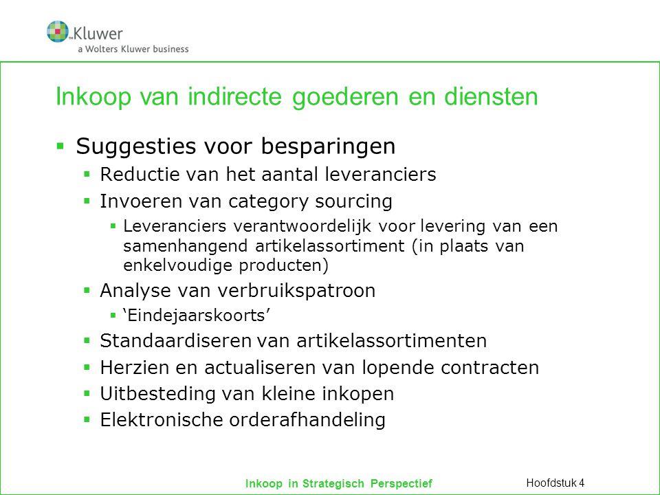 Inkoop in Strategisch Perspectief Inkoop van indirecte goederen en diensten  Suggesties voor besparingen  Reductie van het aantal leveranciers  Inv