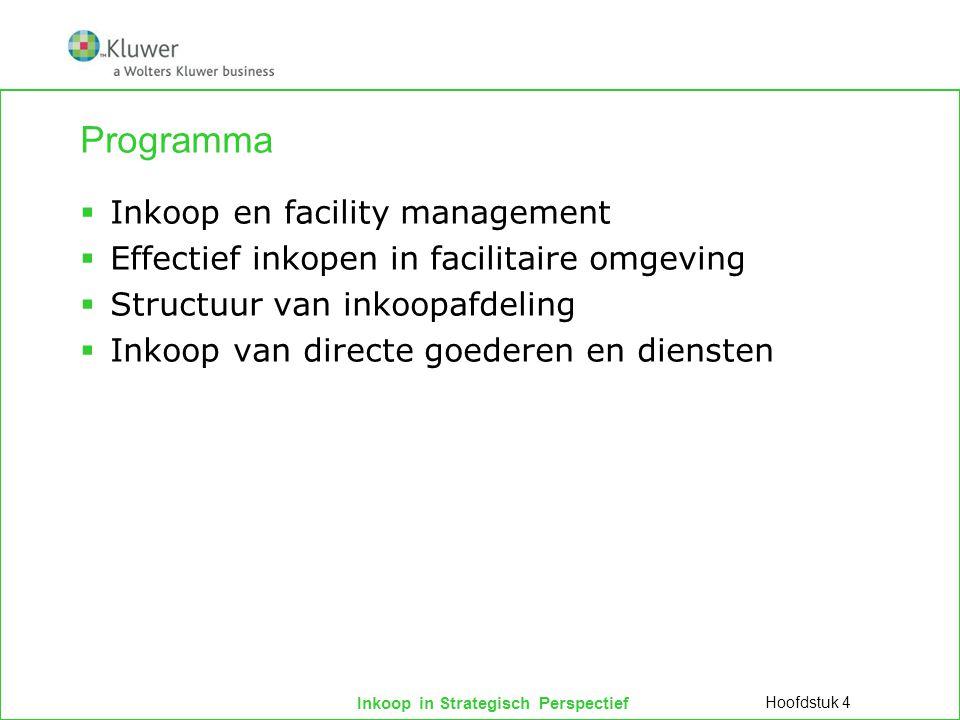 Inkoop in Strategisch Perspectief Programma  Inkoop en facility management  Effectief inkopen in facilitaire omgeving  Structuur van inkoopafdeling