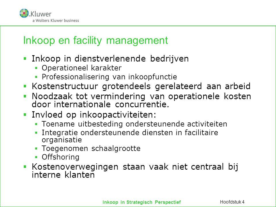 Inkoop in Strategisch Perspectief Inkoop en facility management  Inkoop in dienstverlenende bedrijven  Operationeel karakter  Professionalisering v