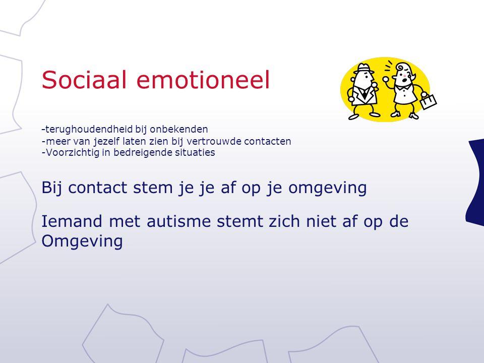 Sociaal emotioneel - terughoudendheid bij onbekenden -meer van jezelf laten zien bij vertrouwde contacten -Voorzichtig in bedreigende situaties Bij co