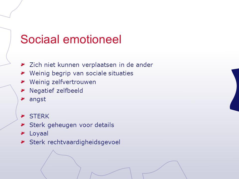 Sociaal emotioneel Zich niet kunnen verplaatsen in de ander Weinig begrip van sociale situaties Weinig zelfvertrouwen Negatief zelfbeeld angst STERK S