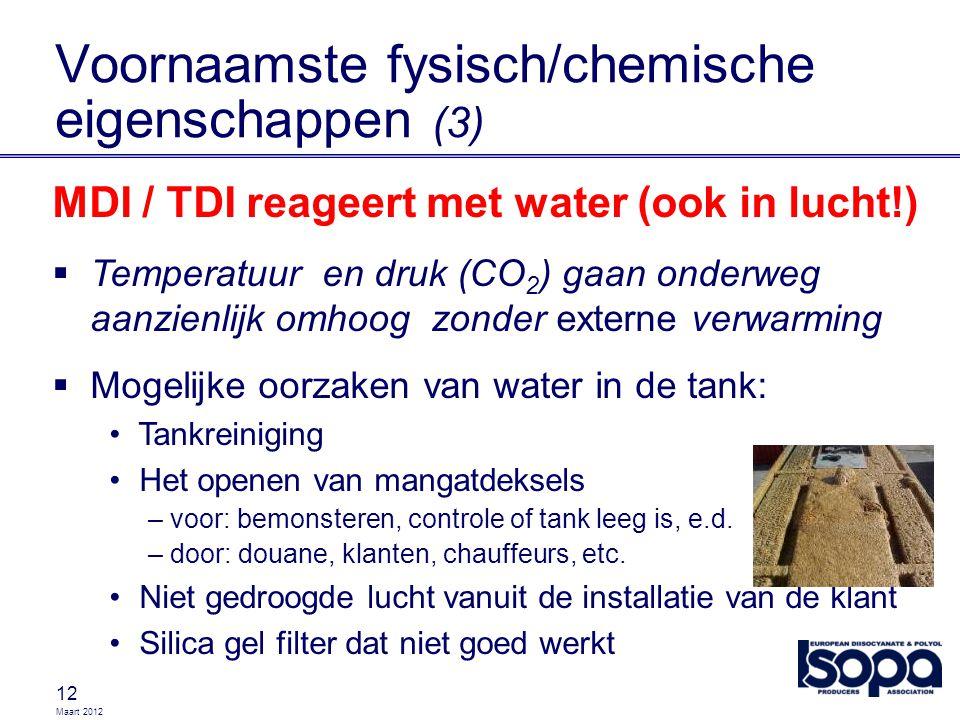 Maart 2012 12 MDI / TDI reageert met water (ook in lucht!)  Temperatuur en druk (CO 2 ) gaan onderweg aanzienlijk omhoog zonder externe verwarming 