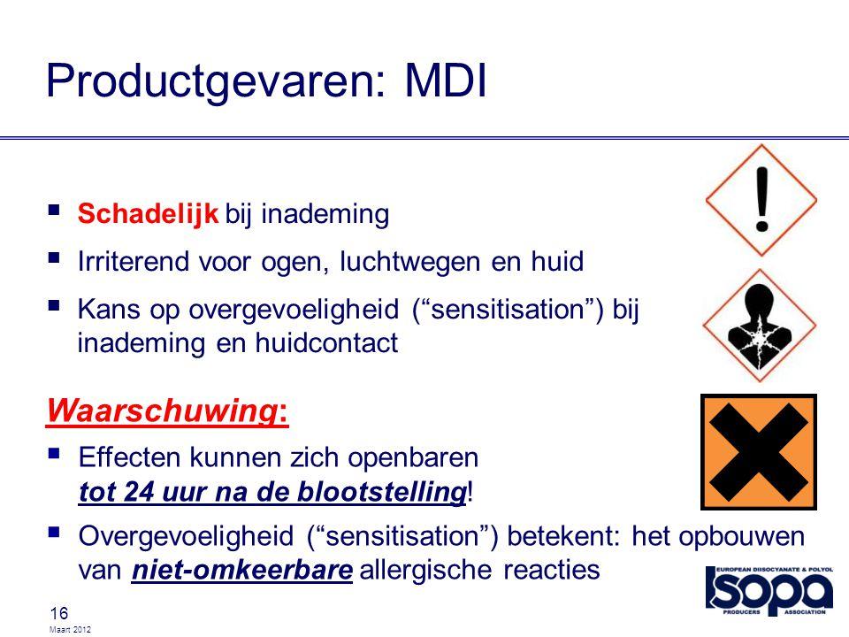 """Maart 2012 16 Productgevaren: MDI  Schadelijk bij inademing  Irriterend voor ogen, luchtwegen en huid  Kans op overgevoeligheid (""""sensitisation"""") b"""