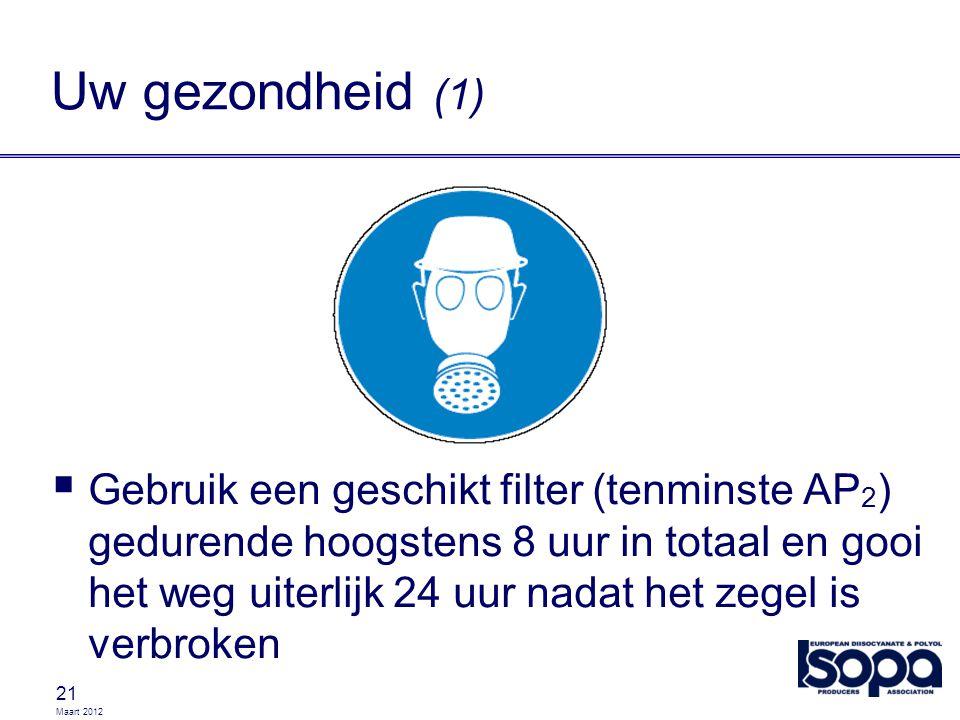 Maart 2012 21 Uw gezondheid (1)  Gebruik een geschikt filter (tenminste AP 2 ) gedurende hoogstens 8 uur in totaal en gooi het weg uiterlijk 24 uur n
