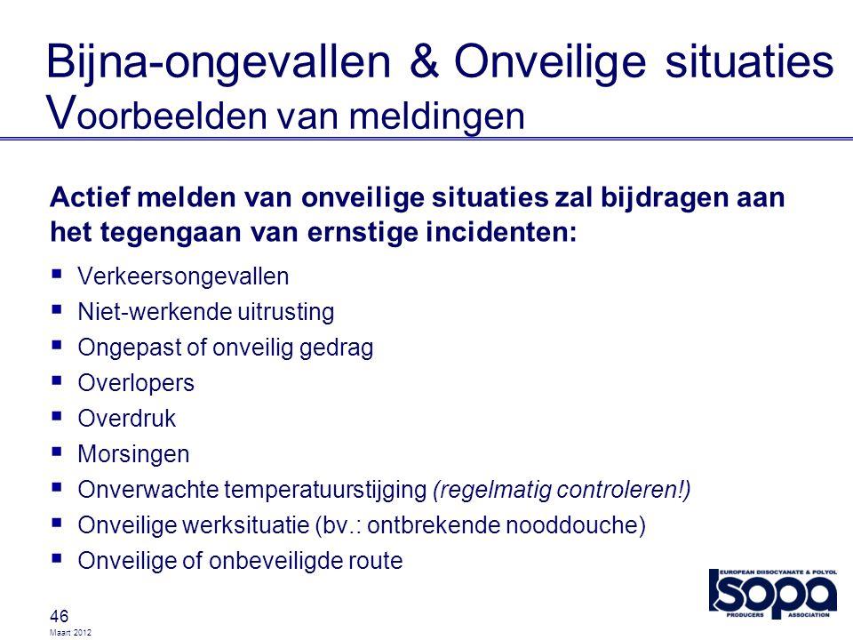 Maart 2012 46 Bijna-ongevallen & Onveilige situaties V oorbeelden van meldingen Actief melden van onveilige situaties zal bijdragen aan het tegengaan