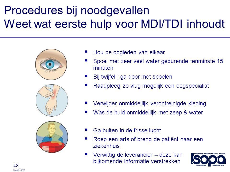 Maart 2012 Procedures bij noodgevallen Weet wat eerste hulp voor MDI/TDI inhoudt 48  Hou de oogleden van elkaar  Spoel met zeer veel water gedurende
