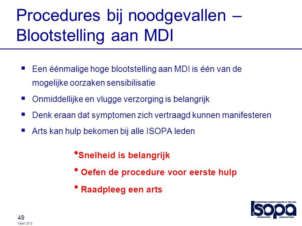 Maart 2012 Procedures bij noodgevallen – Blootstelling aan MDI 49  Een éénmalige hoge blootstelling aan MDI is één van de mogelijke oorzaken sensibil