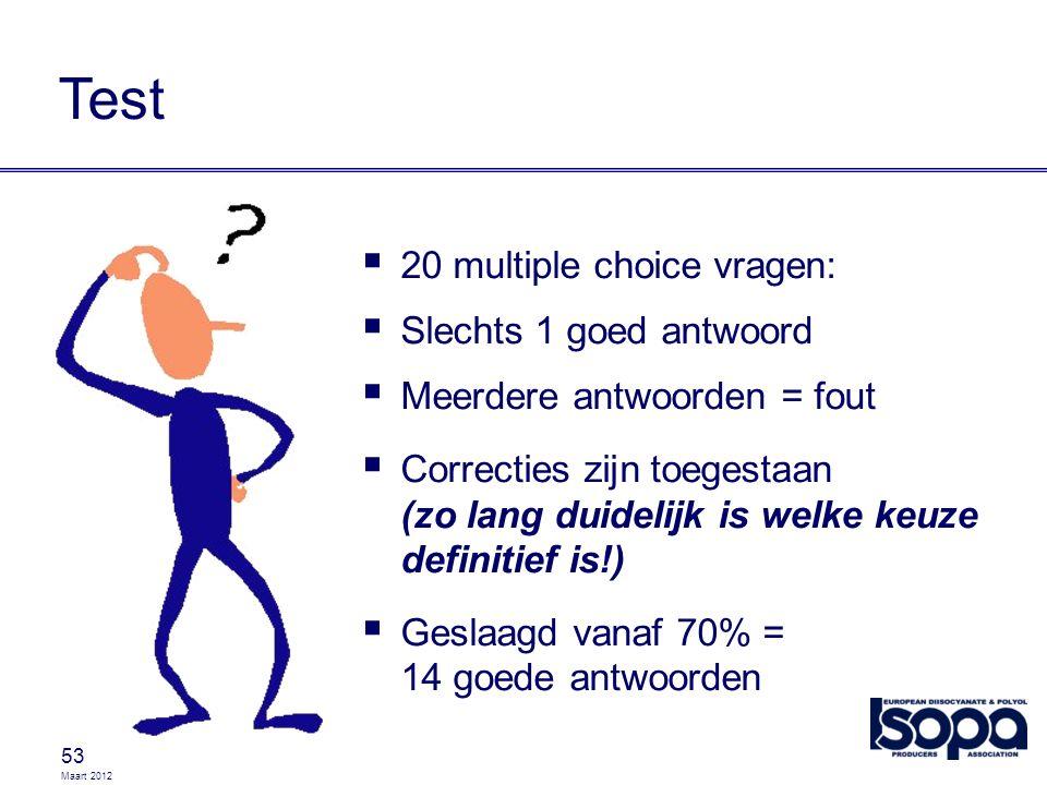 Maart 2012 53 Test  20 multiple choice vragen:  Slechts 1 goed antwoord  Meerdere antwoorden = fout  Correcties zijn toegestaan (zo lang duidelijk