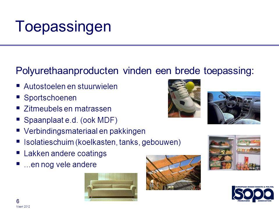 Maart 2012 17 Classificatie en Etikettering ProductTransport Gebruik MDI Niet gereglementeerd, maar wel degelijk schadelijk TDIADR / RID / IMDG UN 2078 Klasse 6.1 Verpakkingsgroep II Kenmerking en Etikettering: ADR tunnel categorie: (D/E) 60 2078
