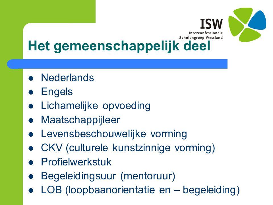 Het gemeenschappelijk deel Nederlands Engels Lichamelijke opvoeding Maatschappijleer Levensbeschouwelijke vorming CKV (culturele kunstzinnige vorming)