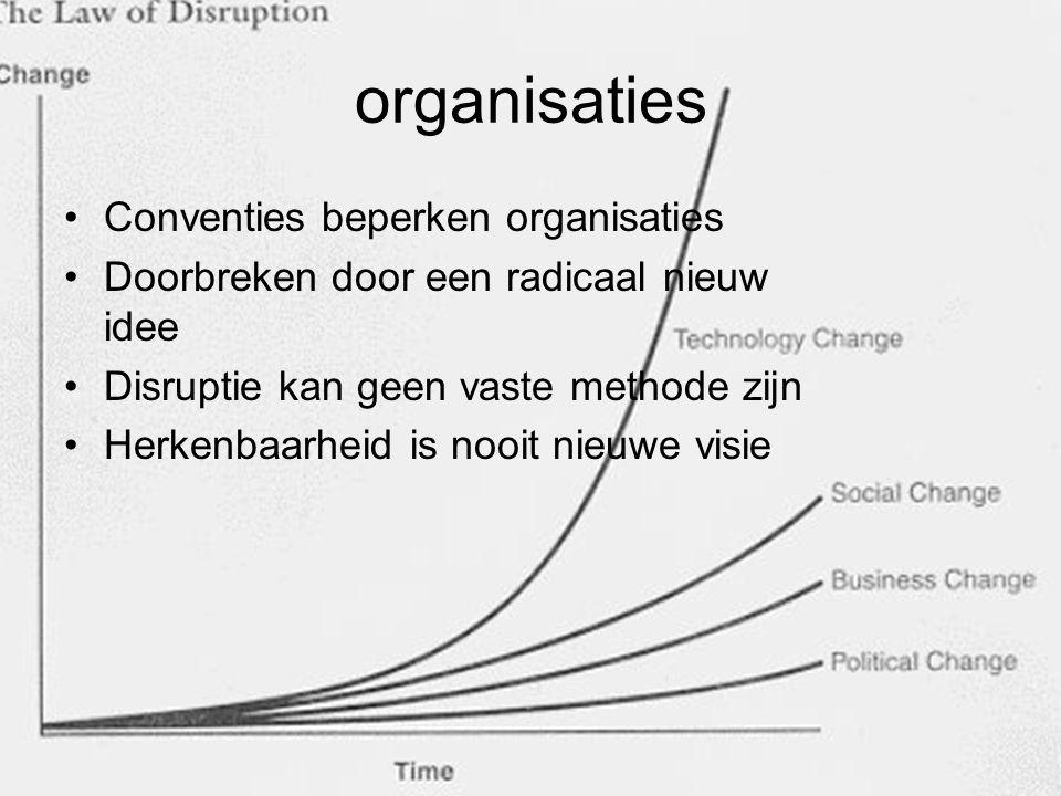 organisaties Conventies beperken organisaties Doorbreken door een radicaal nieuw idee Disruptie kan geen vaste methode zijn Herkenbaarheid is nooit ni