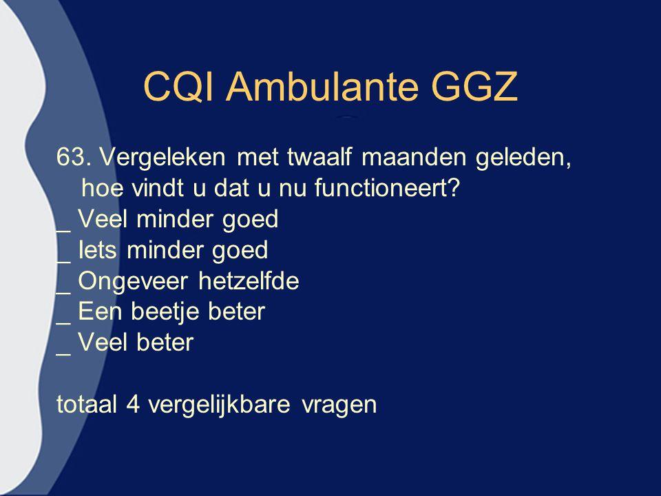 CQI Ambulante GGZ 63. Vergeleken met twaalf maanden geleden, hoe vindt u dat u nu functioneert? _ Veel minder goed _ Iets minder goed _ Ongeveer hetze