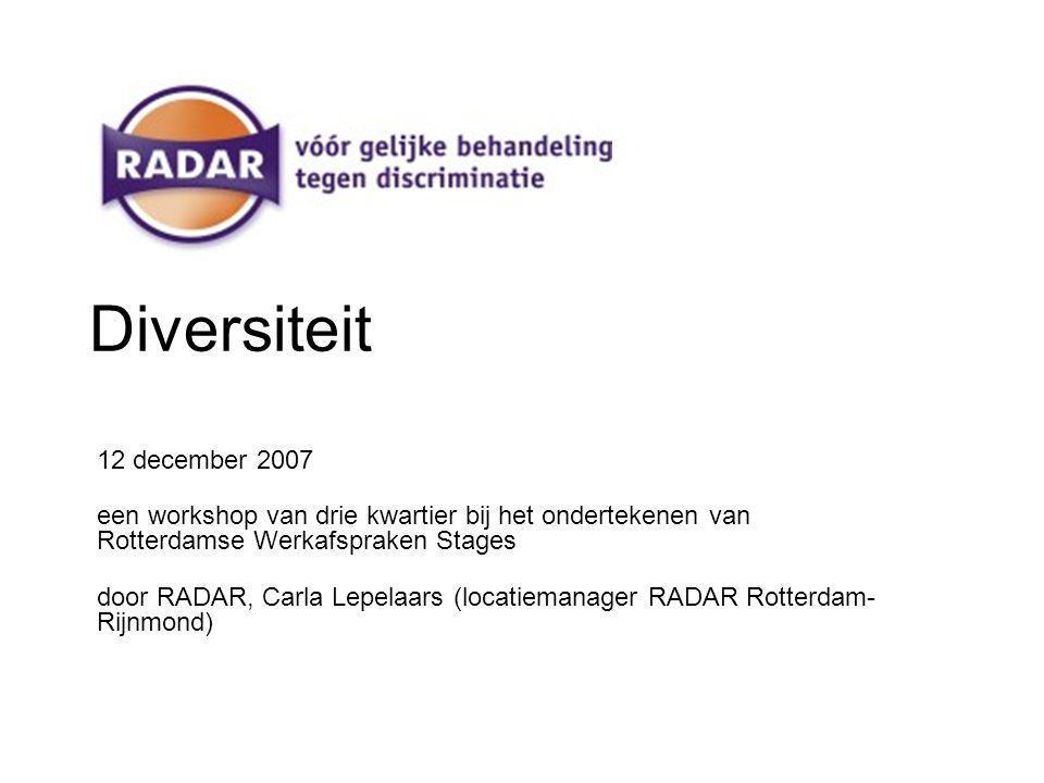 Diversiteit 12 december 2007 een workshop van drie kwartier bij het ondertekenen van Rotterdamse Werkafspraken Stages door RADAR, Carla Lepelaars (locatiemanager RADAR Rotterdam- Rijnmond)