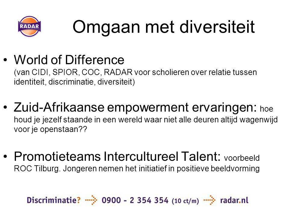 Omgaan met diversiteit World of Difference (van CIDI, SPIOR, COC, RADAR voor scholieren over relatie tussen identiteit, discriminatie, diversiteit) Zuid-Afrikaanse empowerment ervaringen: hoe houd je jezelf staande in een wereld waar niet alle deuren altijd wagenwijd voor je openstaan .