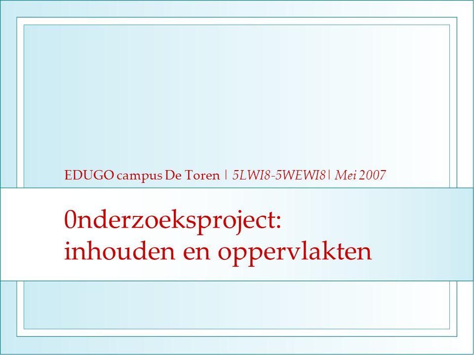 0nderzoeksproject: inhouden en oppervlakten EDUGO campus De Toren | 5LWI8-5WEWI8| Mei 2007