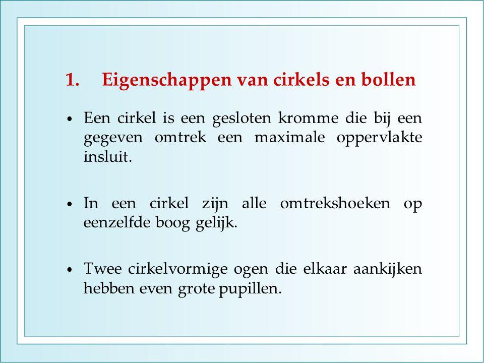 1.Eigenschappen van cirkels en bollen Een cirkel is een gesloten kromme die bij een gegeven omtrek een maximale oppervlakte insluit. In een cirkel zij