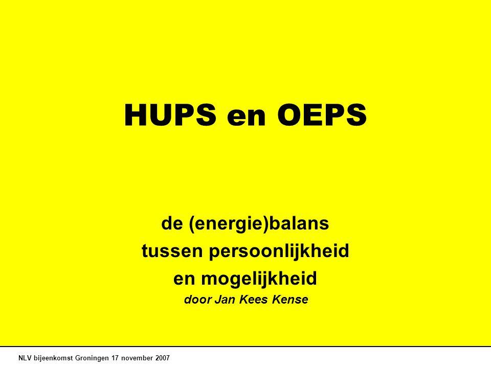 HUPS en OEPS de (energie)balans tussen persoonlijkheid en mogelijkheid door Jan Kees Kense NLV bijeenkomst Groningen 17 november 2007