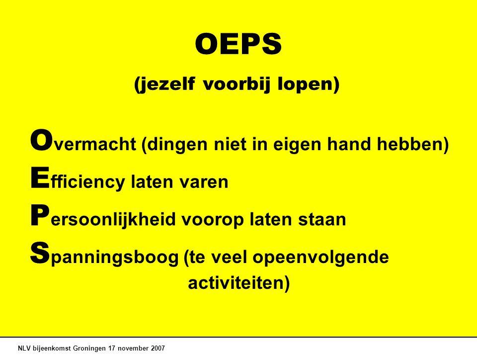 OEPS NLV bijeenkomst Groningen 17 november 2007 E fficiency laten varen O vermacht (dingen niet in eigen hand hebben) P ersoonlijkheid voorop laten staan S panningsboog (te veel opeenvolgende activiteiten) (jezelf voorbij lopen)