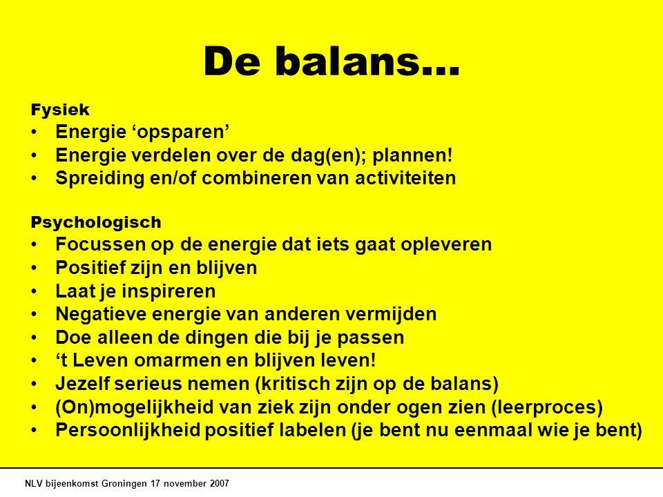 De balans… Fysiek Energie 'opsparen' Energie verdelen over de dag(en); plannen! Spreiding en/of combineren van activiteiten Psychologisch Focussen op