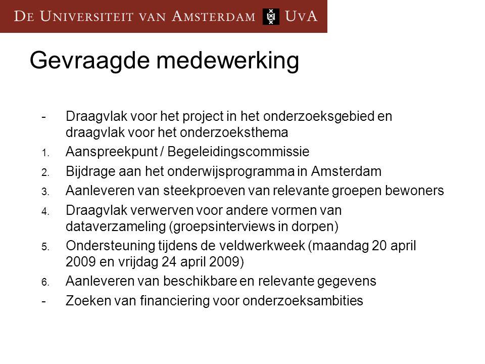 Gevraagde medewerking -Draagvlak voor het project in het onderzoeksgebied en draagvlak voor het onderzoeksthema 1.