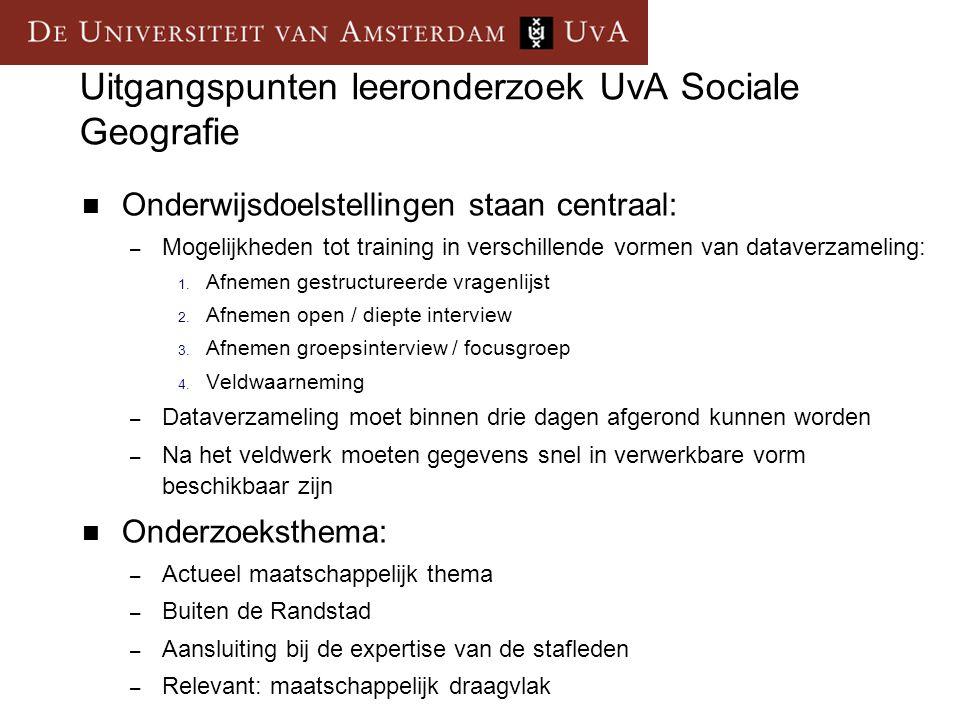 Uitgangspunten leeronderzoek UvA Sociale Geografie Onderwijsdoelstellingen staan centraal: – Mogelijkheden tot training in verschillende vormen van dataverzameling: 1.