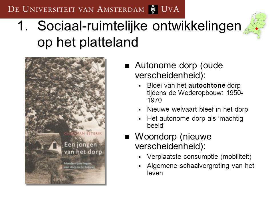 3.Leeronderzoek 1995 Oostelijk Gelderland In hoeverre bestaan er tussen ouderen in verschillende typen woonmilieus in Oostelijk Gelderland verschillen in woongeschiedenis en welke kenmerken van hun sociaal- economische positie en hun sociale netwerk hangen hiermee samen.
