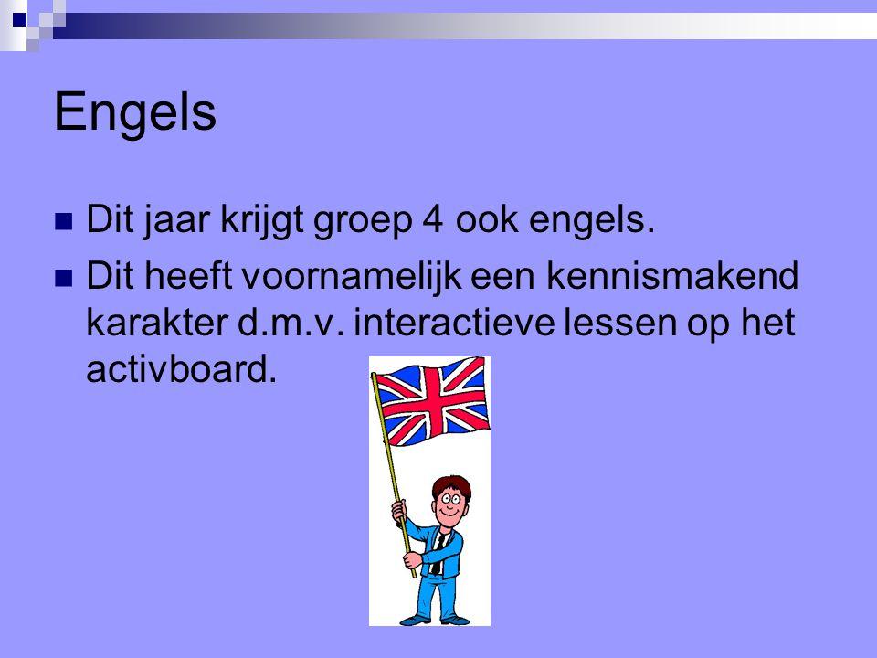 Engels Dit jaar krijgt groep 4 ook engels. Dit heeft voornamelijk een kennismakend karakter d.m.v. interactieve lessen op het activboard.