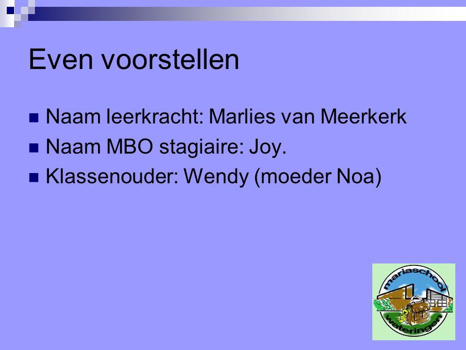 Even voorstellen Naam leerkracht: Marlies van Meerkerk Naam MBO stagiaire: Joy. Klassenouder: Wendy (moeder Noa)