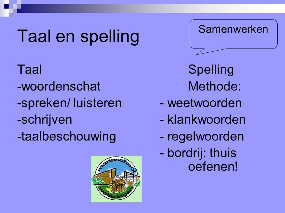 Taal en spelling Taal Spelling -woordenschatMethode: -spreken/ luisteren- weetwoorden -schrijven- klankwoorden -taalbeschouwing - regelwoorden - bordrij: thuis oefenen.