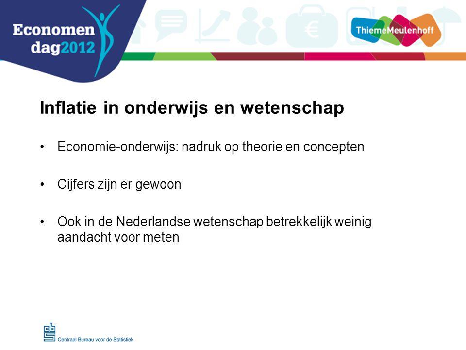 Inflatie in onderwijs en wetenschap Economie-onderwijs: nadruk op theorie en concepten Cijfers zijn er gewoon Ook in de Nederlandse wetenschap betrekkelijk weinig aandacht voor meten
