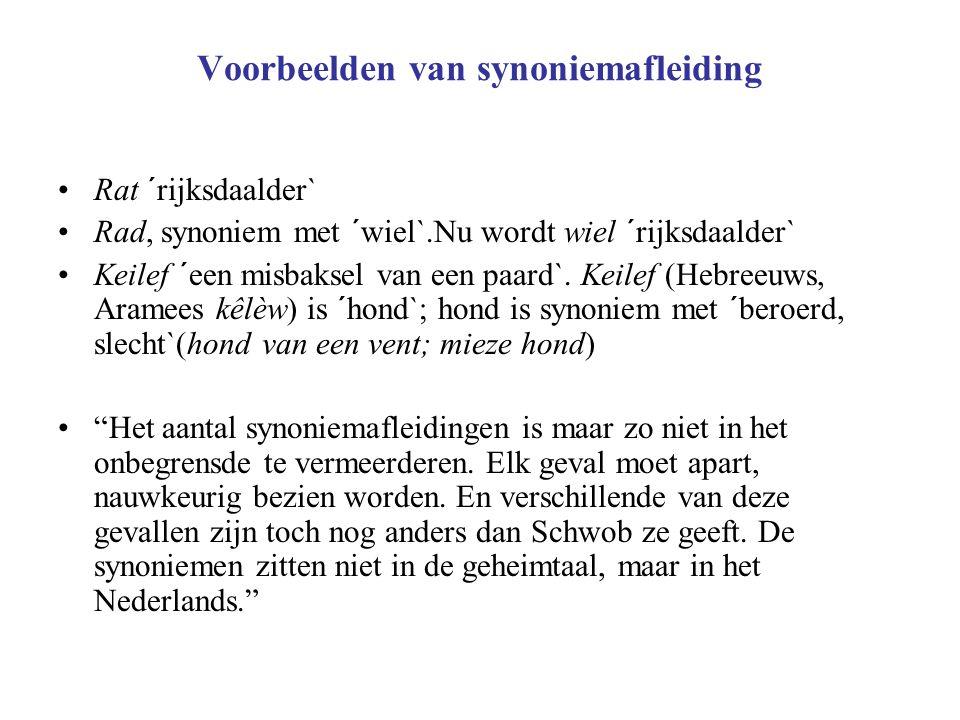 Voorbeelden van synoniemafleiding Rat ´rijksdaalder` Rad, synoniem met ´wiel`.Nu wordt wiel ´rijksdaalder` Keilef ´een misbaksel van een paard`.